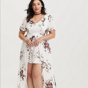 Torrid - Ivory floral romper with Maxie Overlay